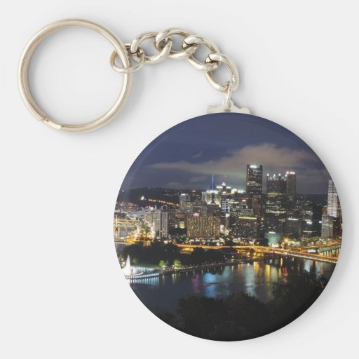 Pittsburgh Skyline at Dusk Basic Round Button Keychain