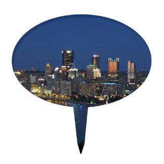 Pittsburgh Skyline at Dusk Cake Topper