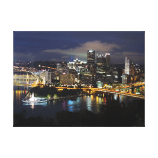Pittsburgh Skyline at Dusk Canvas Stretched Canvas Prints