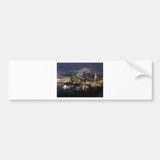 Pittsburgh Skyline at Dusk Car Bumper Sticker