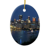 Pittsburgh Skyline at Dusk Ceramic Ornament