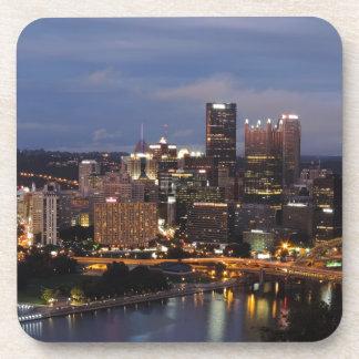 Pittsburgh Skyline at Dusk Beverage Coasters