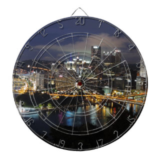 Pittsburgh Skyline at Dusk Dart Boards