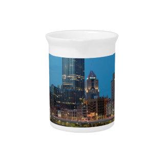 Pittsburgh Skyline at Dusk Drink Pitcher