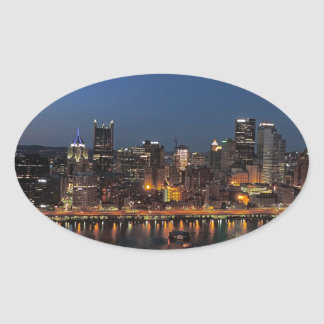 Pittsburgh Skyline at Dusk Oval Sticker