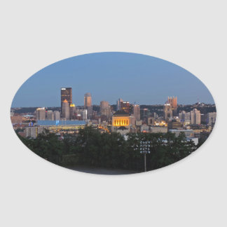Pittsburgh Skyline at Dusk Oval Sticker