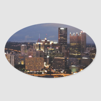 Pittsburgh Skyline at Dusk Oval Stickers