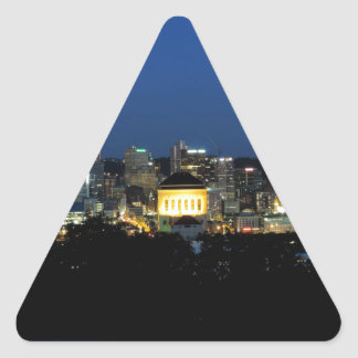 Pittsburgh Skyline at Dusk Triangle Sticker