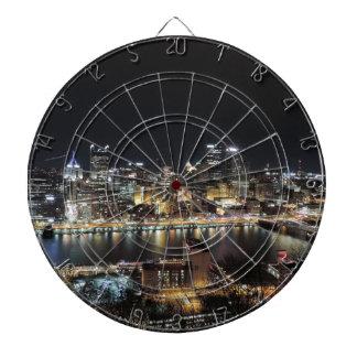 Pittsburgh Skyline at Night Dartboard With Darts