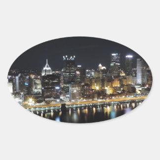 Pittsburgh skyline at night from Mount Washington Oval Sticker