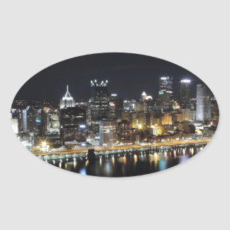 Pittsburgh skyline at night from Mount Washington Sticker