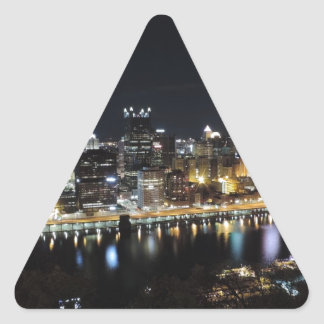 Pittsburgh skyline at night from Mount Washington Triangle Sticker