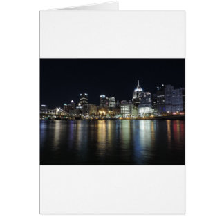 Pittsburgh Skyline at night from PNC Park Card