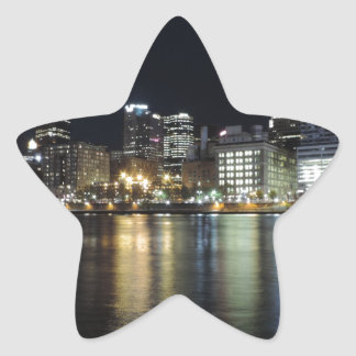 Pittsburgh Skyline at night from PNC Park Star Sticker
