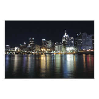Pittsburgh Skyline at night from PNC Park Stationery