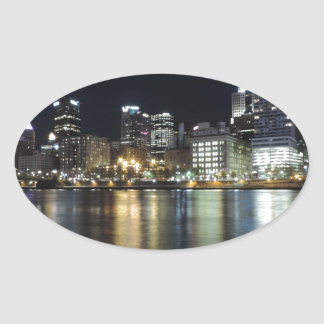 Pittsburgh Skyline at night from PNC Park Stickers