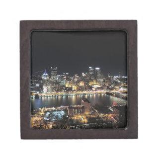 Pittsburgh Skyline at Night Keepsake Box