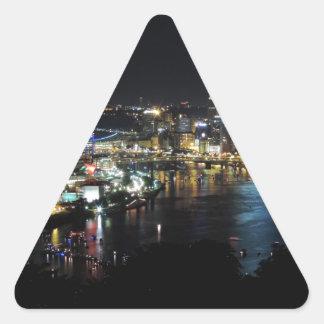 Pittsburgh Skyline at Night Triangle Sticker