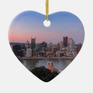 Pittsburgh Skyline at Sunset Double-Sided Heart Ceramic Christmas Ornament
