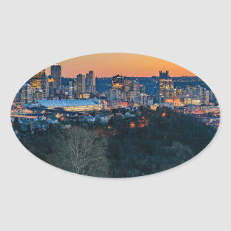 Pittsburgh Skyline at Sunset Oval Sticker