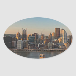 Pittsburgh Skyline at Sunset Oval Stickers