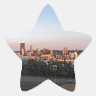 Pittsburgh Skyline at Sunset Star Sticker