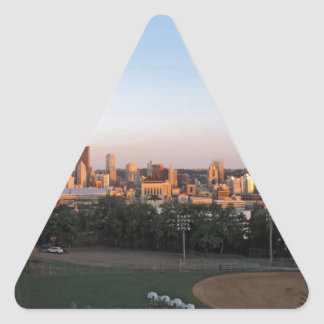 Pittsburgh Skyline at Sunset Triangle Sticker