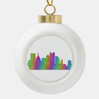 Pittsburgh skyline ceramic ball christmas ornament