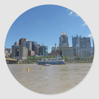 Pittsburgh skyline from PNC Park Classic Round Sticker