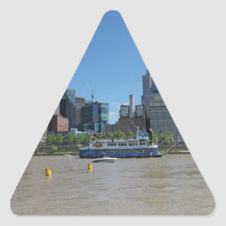 Pittsburgh skyline from PNC Park Triangle Sticker