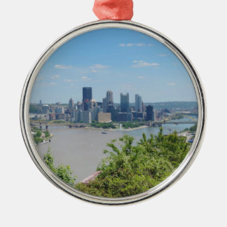 Pittsburgh Skyline from West End Overlook Metal Ornament