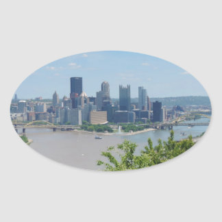 Pittsburgh Skyline from West End Overlook Oval Sticker