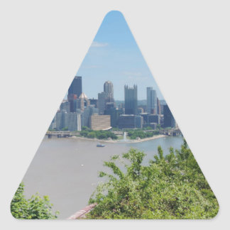 Pittsburgh Skyline from West End Overlook Triangle Sticker