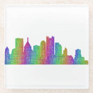Pittsburgh skyline glass coaster