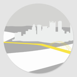 Pittsburgh skyline graphic classic round sticker