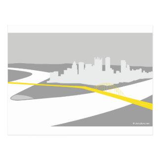 Pittsburgh skyline graphic postcard