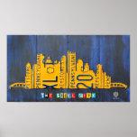 Pittsburgh Skyline License Plate Art Poster