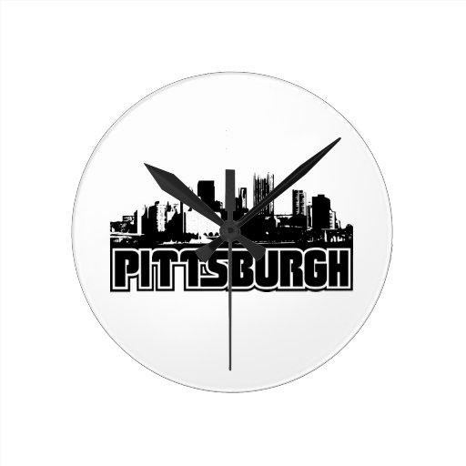 Pittsburgh Skyline Round Clock