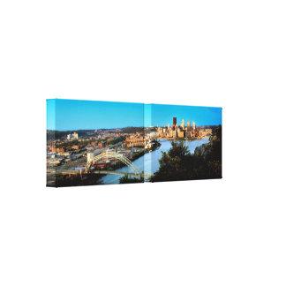 Pittsburgh-Superior-Lona-Envolver-Ciudad-Paisaje Lienzo Envuelto Para Galerias