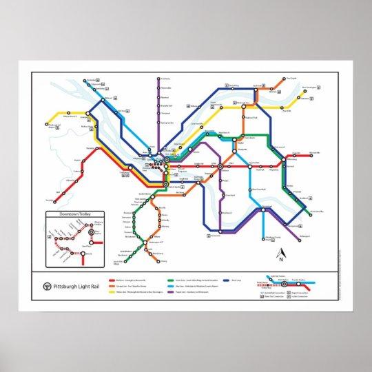 Pittaburgh Subway Map.Pittsburgh Transit Map Poster