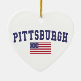 Pittsburgh US Flag Ceramic Ornament