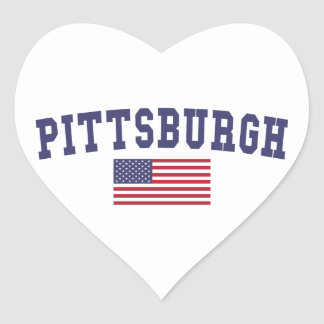 Pittsburgh US Flag Heart Sticker