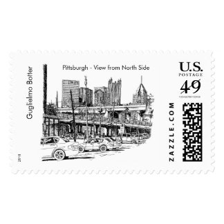 """Pittsburgh, """"View from North Side"""" Postage Stamp"""