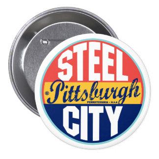 Pittsburgh Vintage Label 3 Inch Round Button