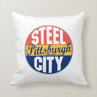 Pittsburgh Vintage Label Throw Pillow