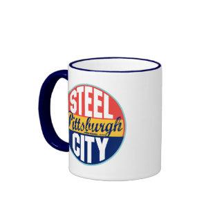 Pittsburgh Vintage Label Ringer Mug