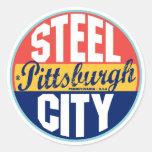 Pittsburgh Vintage Label Round Sticker