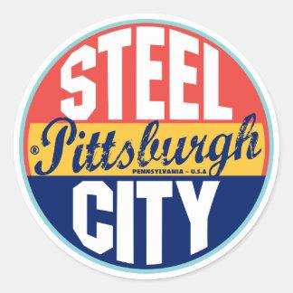 Pittsburgh Vintage Label Classic Round Sticker