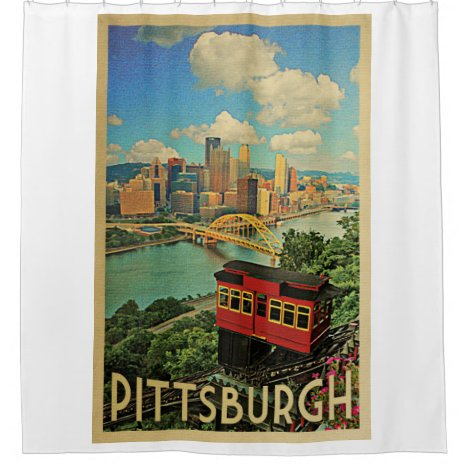 Pittsburgh Vintage Travel Duquesne Incline Shower Curtain