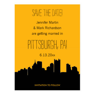 Pittsburgh Wedding Black and Gold Save the Date Postcard